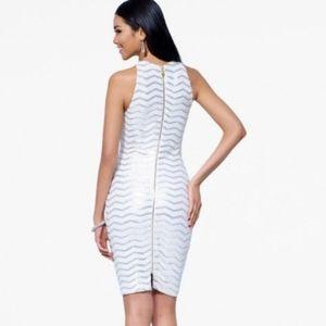 Cache White Zig Zag Sequin Bodycon Zip Dress XS